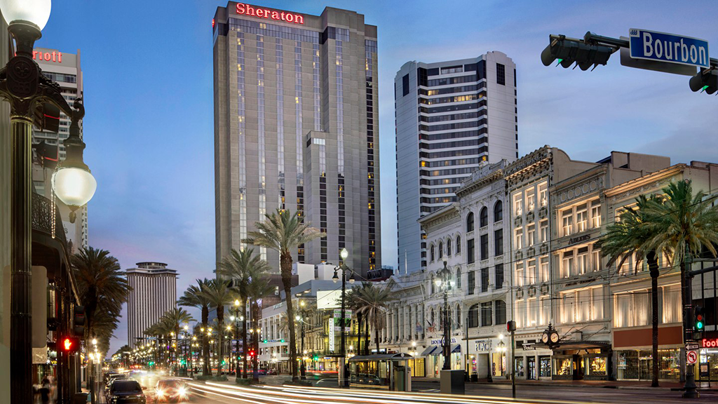 A view of the Sheraton Hotel New Orleans from Canal Street
