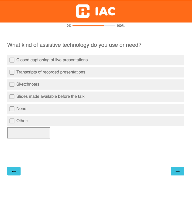 Sample of the Conference Expectation survey